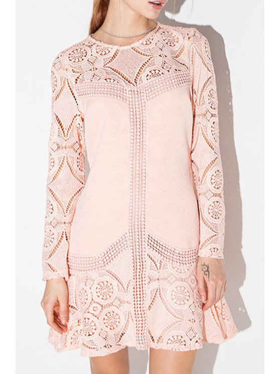 new Pink Long Sleeve Hollow Out Dress - PINK S