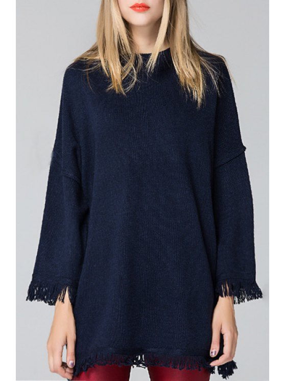 hot Round Neck 3/4 Sleeve Fringed Sweater - BLUE ONE SIZE(FIT SIZE XS TO M)