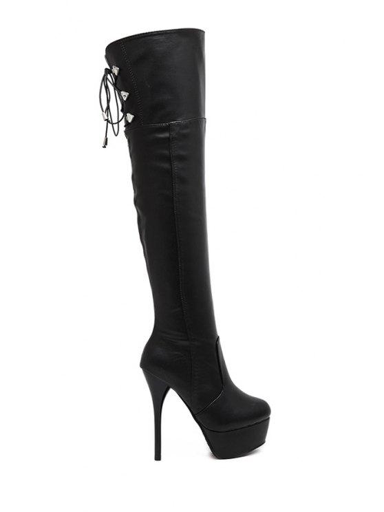 sale Platform Stiletto Heel Black Thigh Boots - BLACK 34