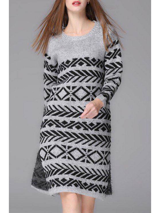 affordable Geometric Pattern Long Sleeves Sweater Dress - GRAY ONE SIZE(FIT SIZE XS TO M)