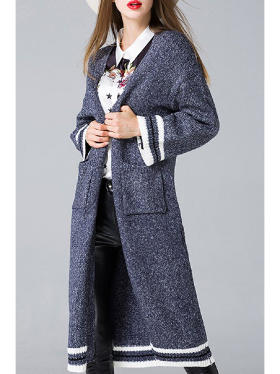 women's Striped Collarless Long Sleeves Cardigan - SAPPHIRE BLUE ONE SIZE(FIT SIZE XS TO M)