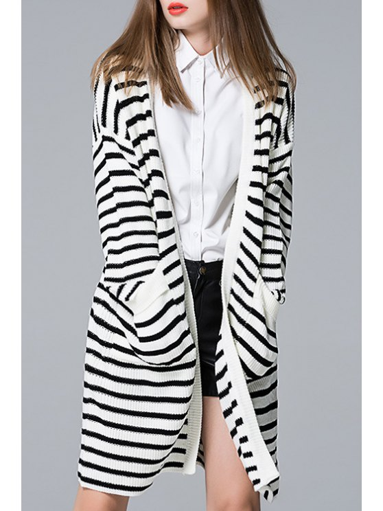 outfit Long Sleeve Stripes Collarless Cardigan - BLACK ONE SIZE(FIT SIZE XS TO M)