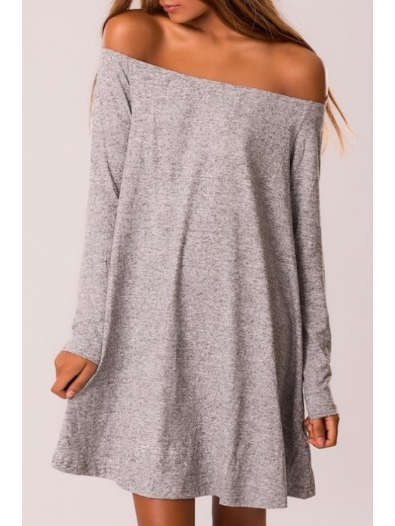 outfit Solid Color Loose Fitting Off The Shoulder Dress - GRAY S