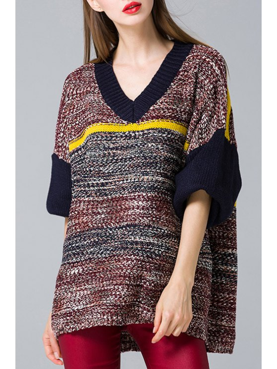 buy Color Block Long Sleeve Loose Pullover Sweater - PURPLISH BLUE ONE SIZE(FIT SIZE XS TO M)