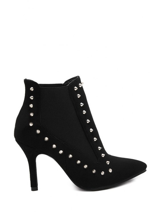 buy Pointed Toe Rivet Suede Ankle Boots - BLACK 35