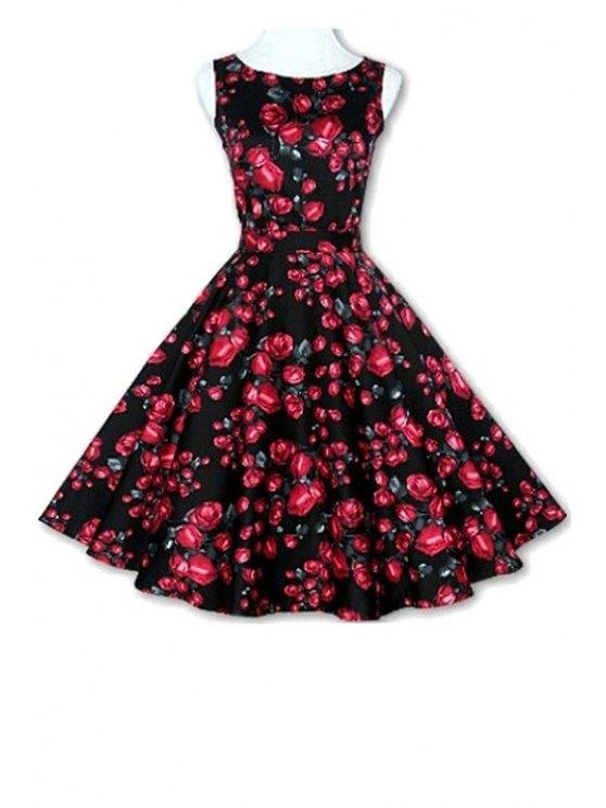 unique Floral Print A-Line Round Color Sleeveless Dress - BLACK XL