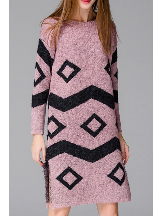 chic Geometric Pattern Side Slit Long Sweater - PINK ONE SIZE(FIT SIZE XS TO M)