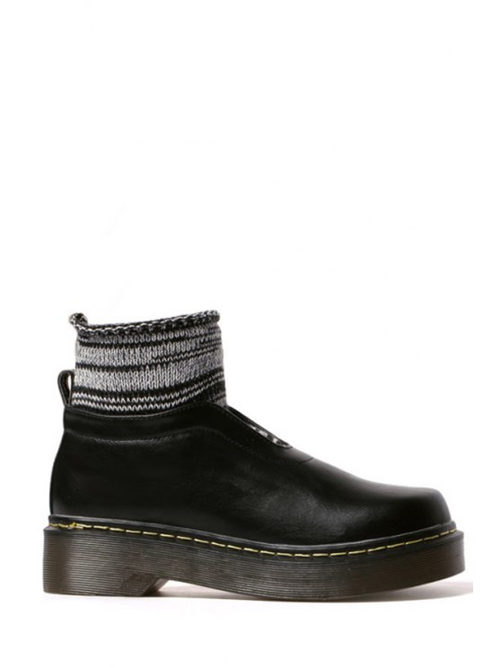 women's Splicing Knitting Platform Ankle Boots - BLACK 35