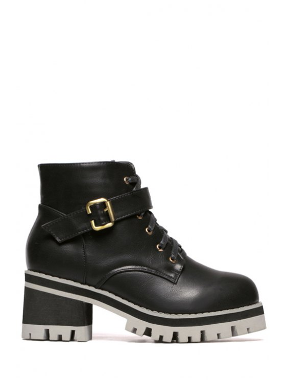 latest Buckle Chunky Heel Lace-Up Ankle Boots - BLACK 35