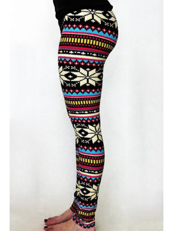 shops Slimming Snowflake Print Bodycon Casual Leggings - COLORMIX ONE SIZE(FIT SIZE XS TO M)