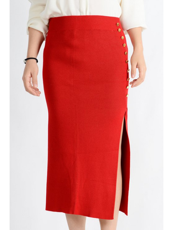 fancy Knitted Side Slit Midi Skirt - RED ONE SIZE(FIT SIZE XS TO M)