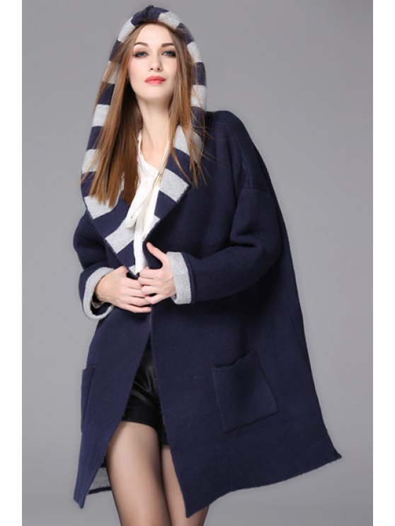 affordable Hooded Striped Pocket Design Cardigan - PURPLISH BLUE ONE SIZE(FIT SIZE XS TO M)