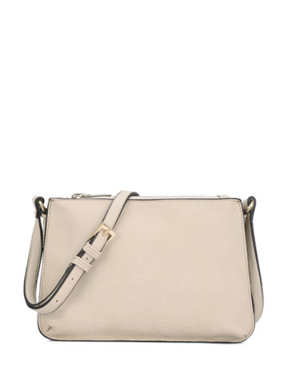 ladies Pure Color PU Leather Zipper Crossbody Bag - APRICOT