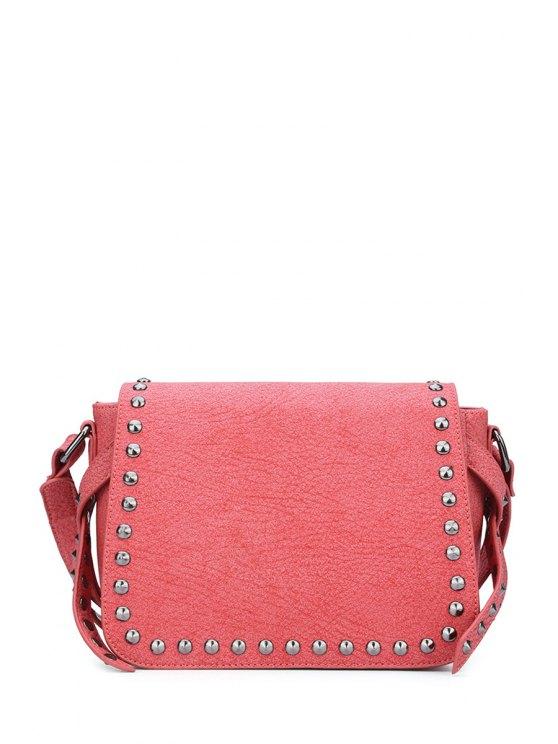 shop Rivet Cover Solid Color Crossbody Bag - RED