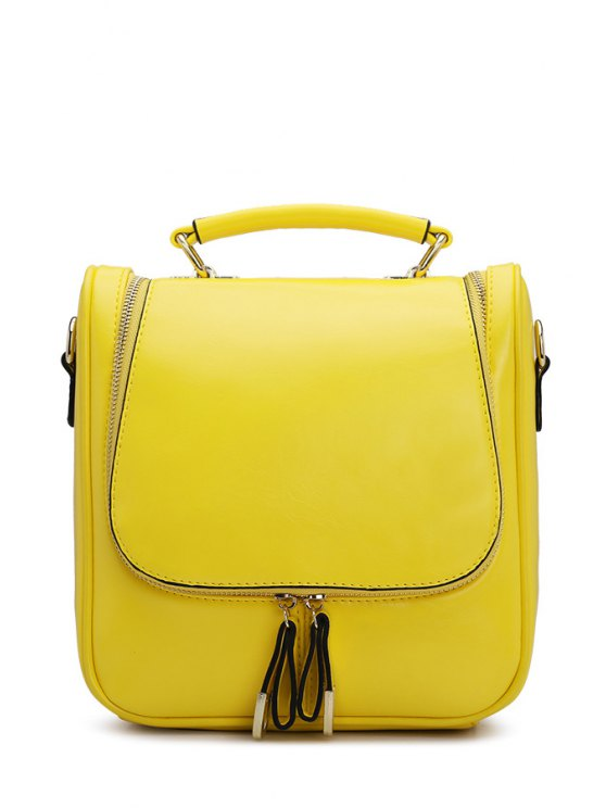 womens Zipper Solid Color PU Leather Satchel - YELLOW