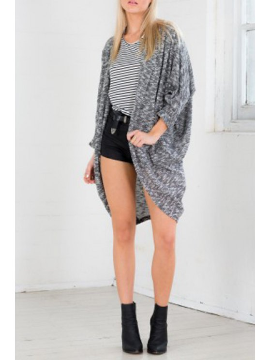 womens Batwing Sleeve Loose-Fitting Cardigan - DEEP GRAY ONE SIZE(FIT SIZE XS TO M)