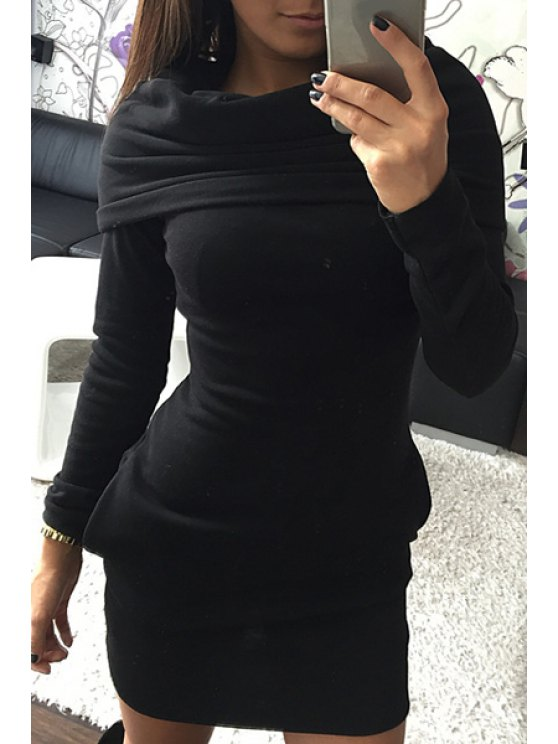trendy Hooded Pocket Design Bodycon Dress - BLACK S