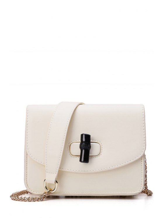 ladies Chains Hasp Solid Color Crossbody Bag - OFF-WHITE