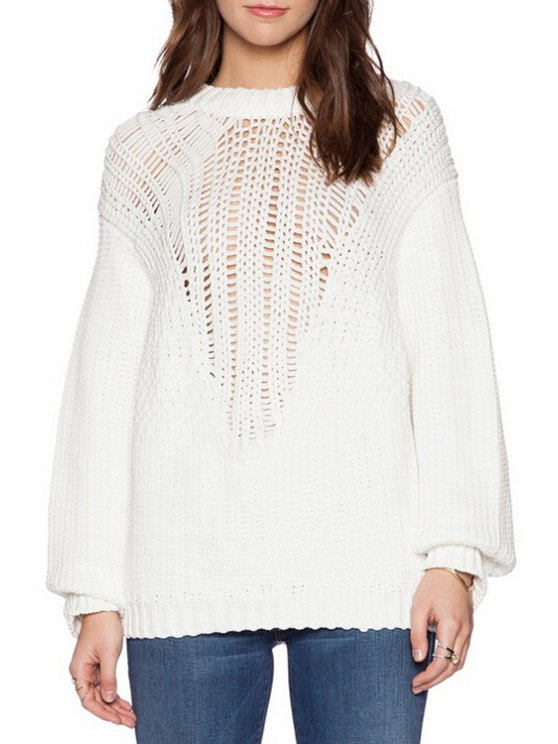 women Round Neck Hollow Out White Sweater - WHITE ONE SIZE(FIT SIZE XS TO M)