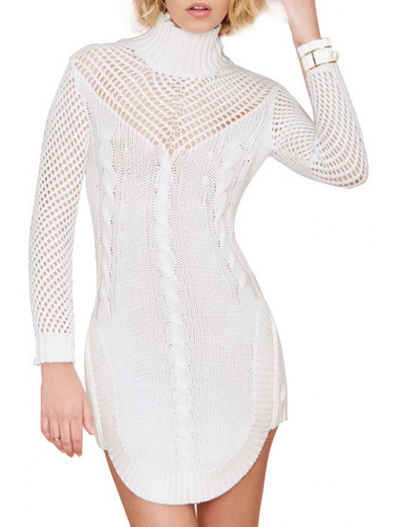 buy Turtle Neck Hollow Out Sweater Dress - WHITE S