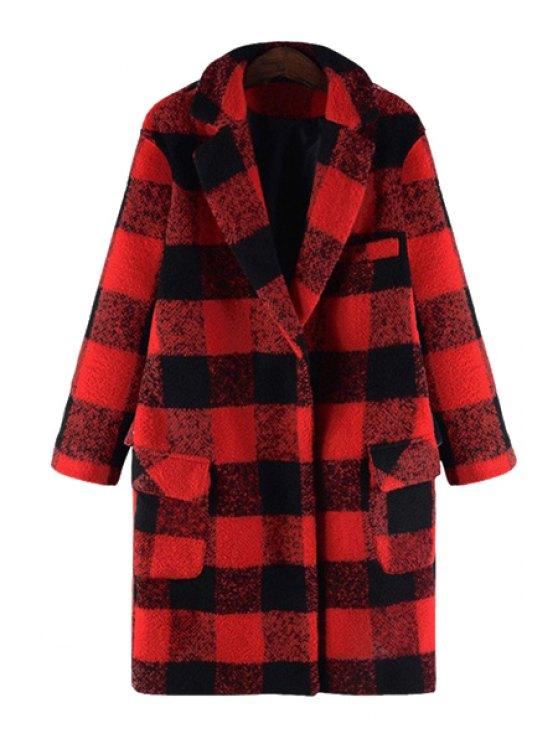 women's Checked Turn-Down Collar Woolen Coat - RED 5XL