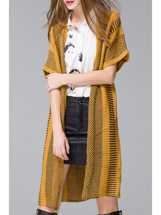 outfits Striped Collarless Short Sleeve Cardigan - YELLOW ONE SIZE(FIT SIZE XS TO M)
