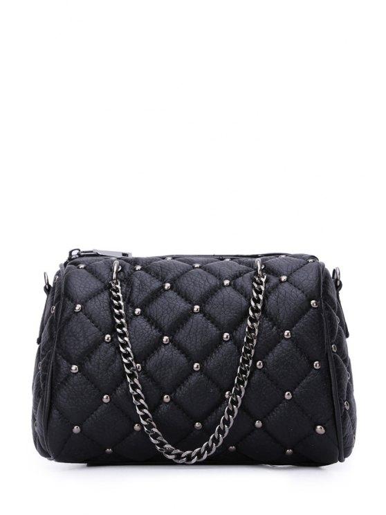 trendy Chains Checked Rivet Tote Bag - BLACK