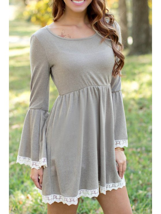 fashion Gray Long Sleeve Lacework Dress - GRAY M