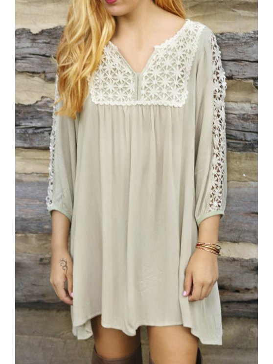 womens Lace Splicing V Neck 3/4 Sleeve Dress - LIGHT APRICOT S