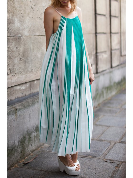 latest Green Stripes Pleated Cami Maxi Dress - WHITE AND GREEN S