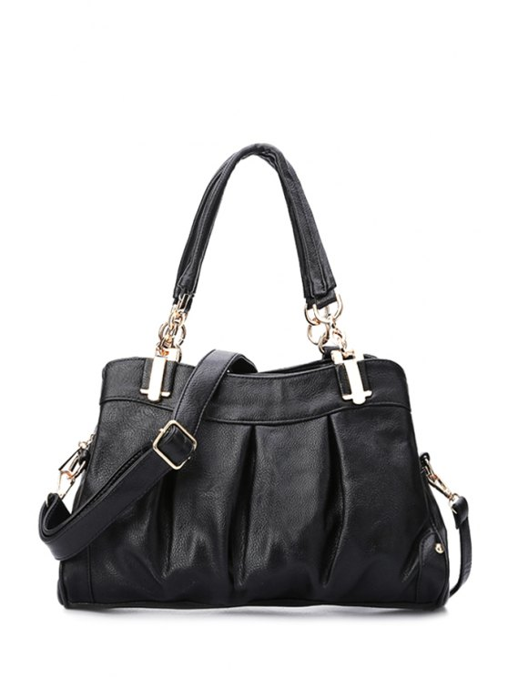 fancy Metal PU Leather Black Shoulder Bag - BLACK