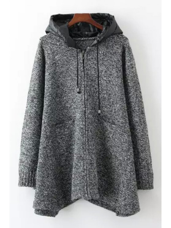 unique Gray Hooded Long Sleeve Cardigan - GRAY ONE SIZE(FIT SIZE XS TO M)