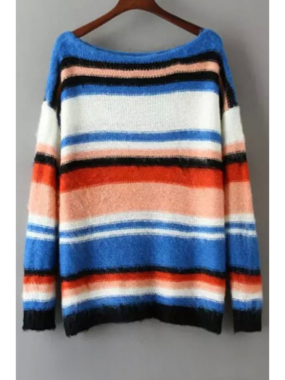 sale Colored Stripes Long Sleeve Jumper - BLUE AND WHITE ONE SIZE(FIT SIZE XS TO M)