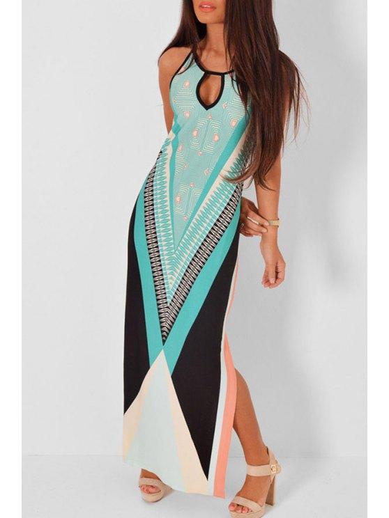 women's Cut Out Side Slit Sleeveless Printed Dress - BLUE M