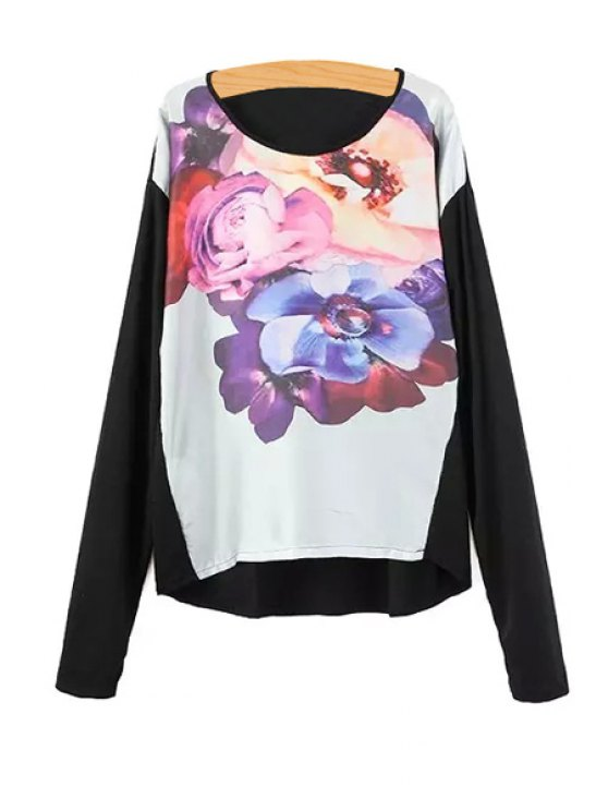 women's Floral Print Spliced Long Sleeve Jumper - BLACK S