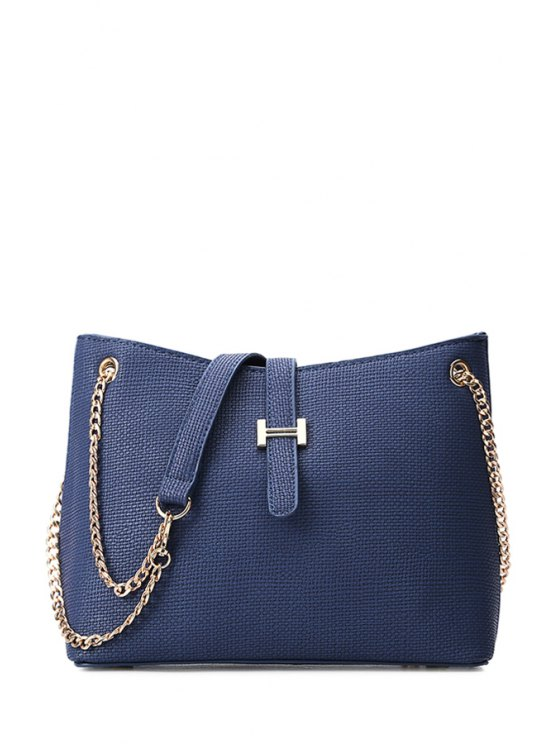 affordable Chains Metal Embossing Crossbody Bag - BLUE