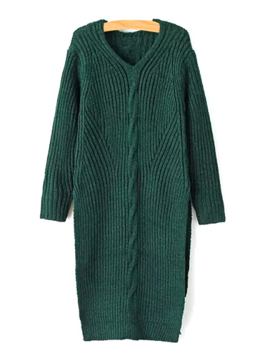 sale High Slit V Neck Long Sleeve Jumper - GREEN ONE SIZE(FIT SIZE XS TO M)
