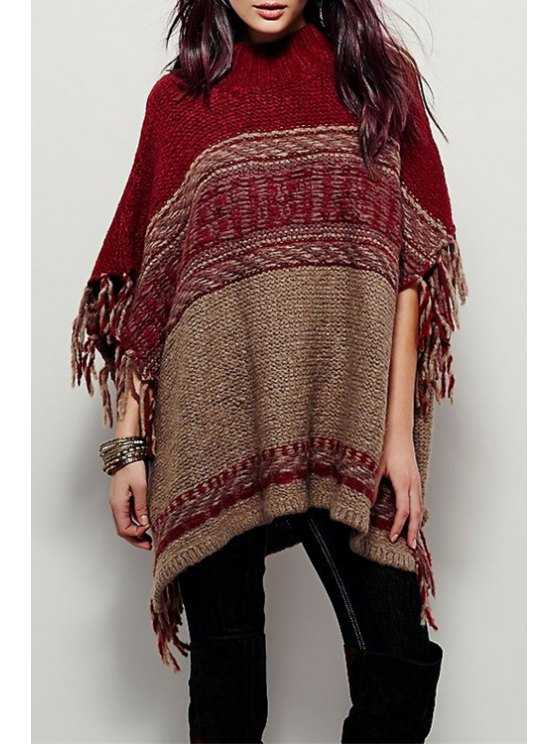 ladies Turtle Neck Fringed Poncho - RED ONE SIZE(FIT SIZE XS TO M)