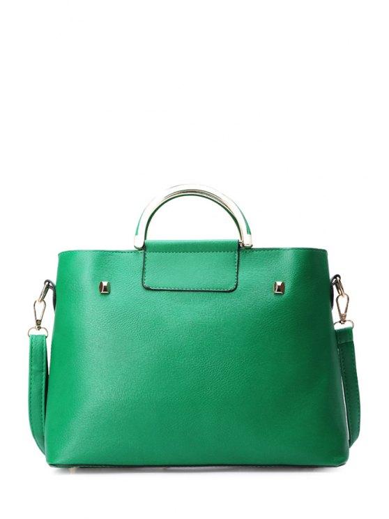 unique PU Leather Pure Color Metal Tote Bag - GREEN