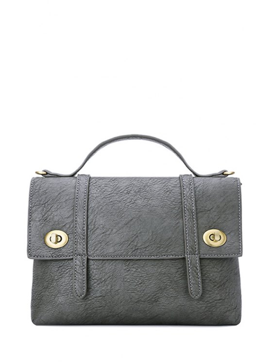womens Stitching Solid Color Hasp Crossbody Bag - GRAY