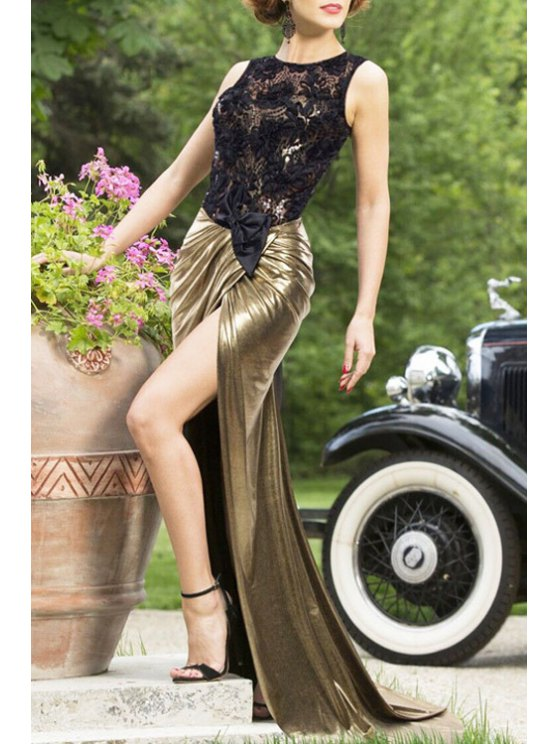 outfit Backless Lace Spliced Sleeveless Maxi Dress - GOLDEN M