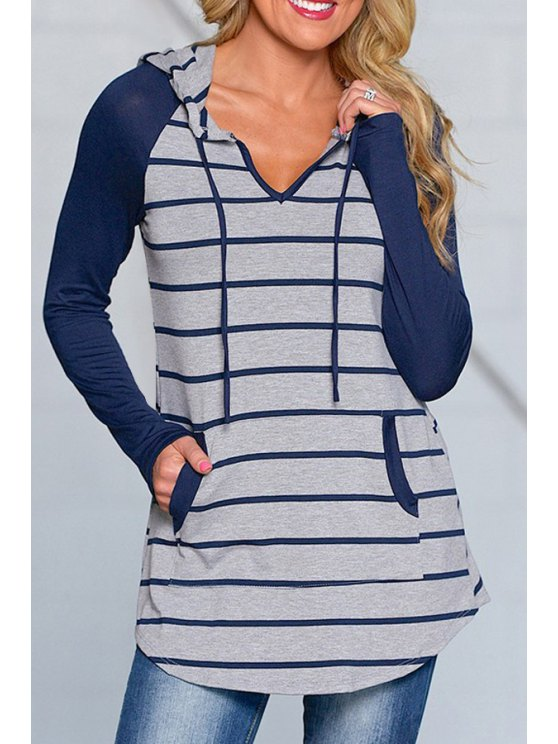 women Blue Striped Long Sleeve Pullover Hoodie - BLUE M