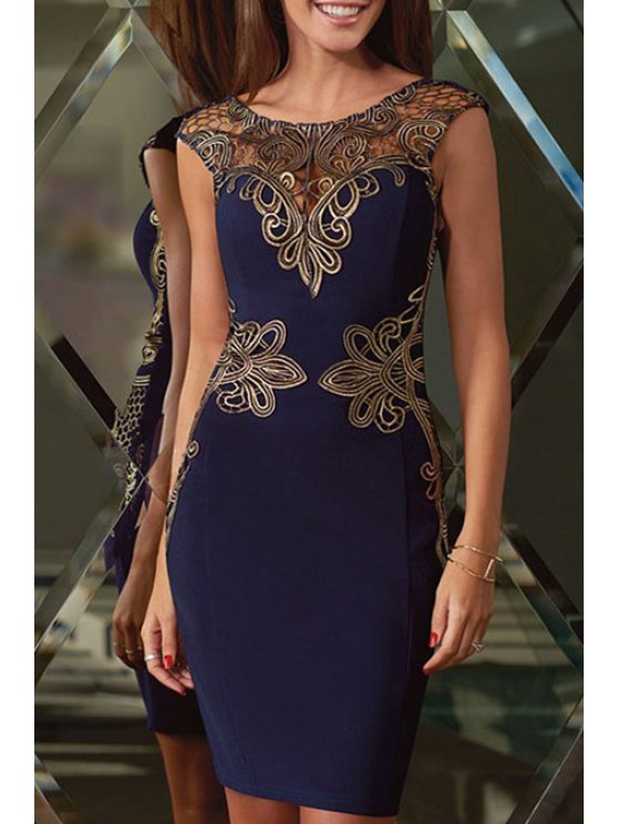 sale Openwork Lace Appliques Sleeveless Dress - BLUE M