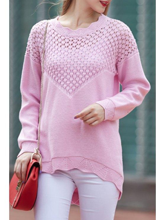 lady Openwork Wave Cut Sweater - PINK XL