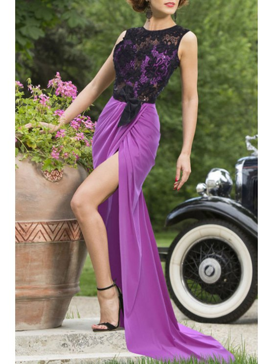 trendy Lace Spliced Sleeveless Backless Maxi Dress - PURPLE M