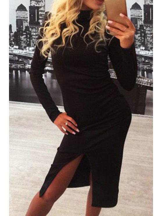 affordable Slit Stand Neck Long Sleeve Bodycon Dress - BLACK S