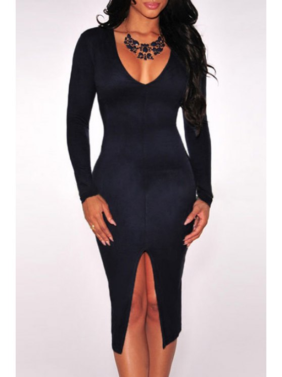 trendy Solid Color Front Slit Plunging Neck Dress - PURPLISH BLUE ONE SIZE(FIT SIZE XS TO M)