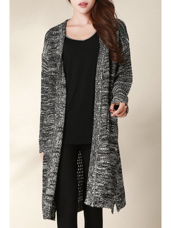 women's Long Sleeve Mixed Color Longline Cardigan - BLACK ONE SIZE(FIT SIZE XS TO M)