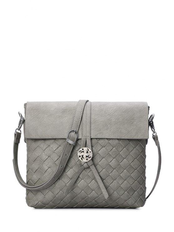 hot Weaving Cover Solid Color Crossbody Bag - LIGHT GRAY