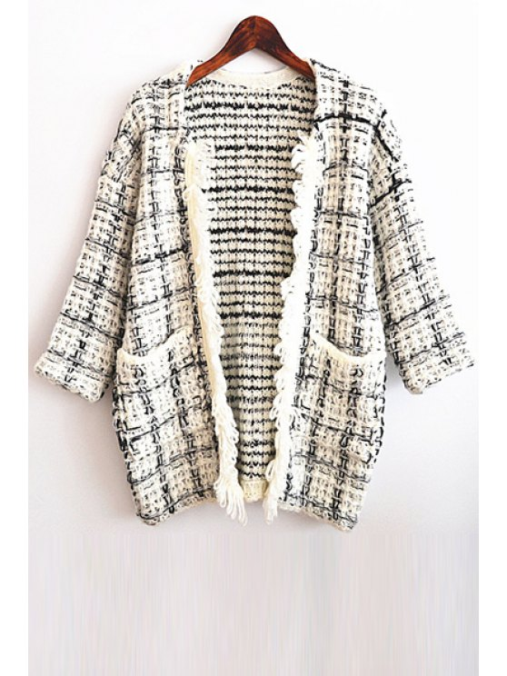 ladies Open Front Pocket Design Plaid Cardigan - WHITE ONE SIZE(FIT SIZE XS TO M)